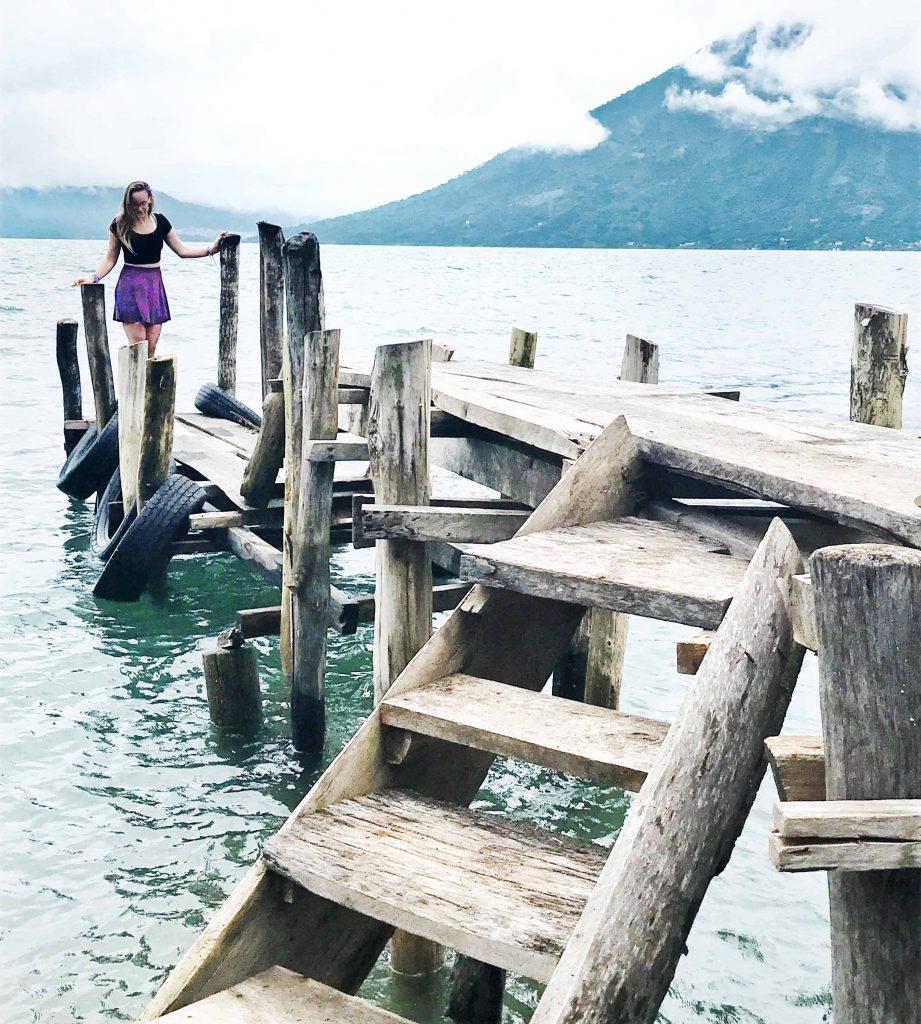 Walking down a typical lake atitlan dock