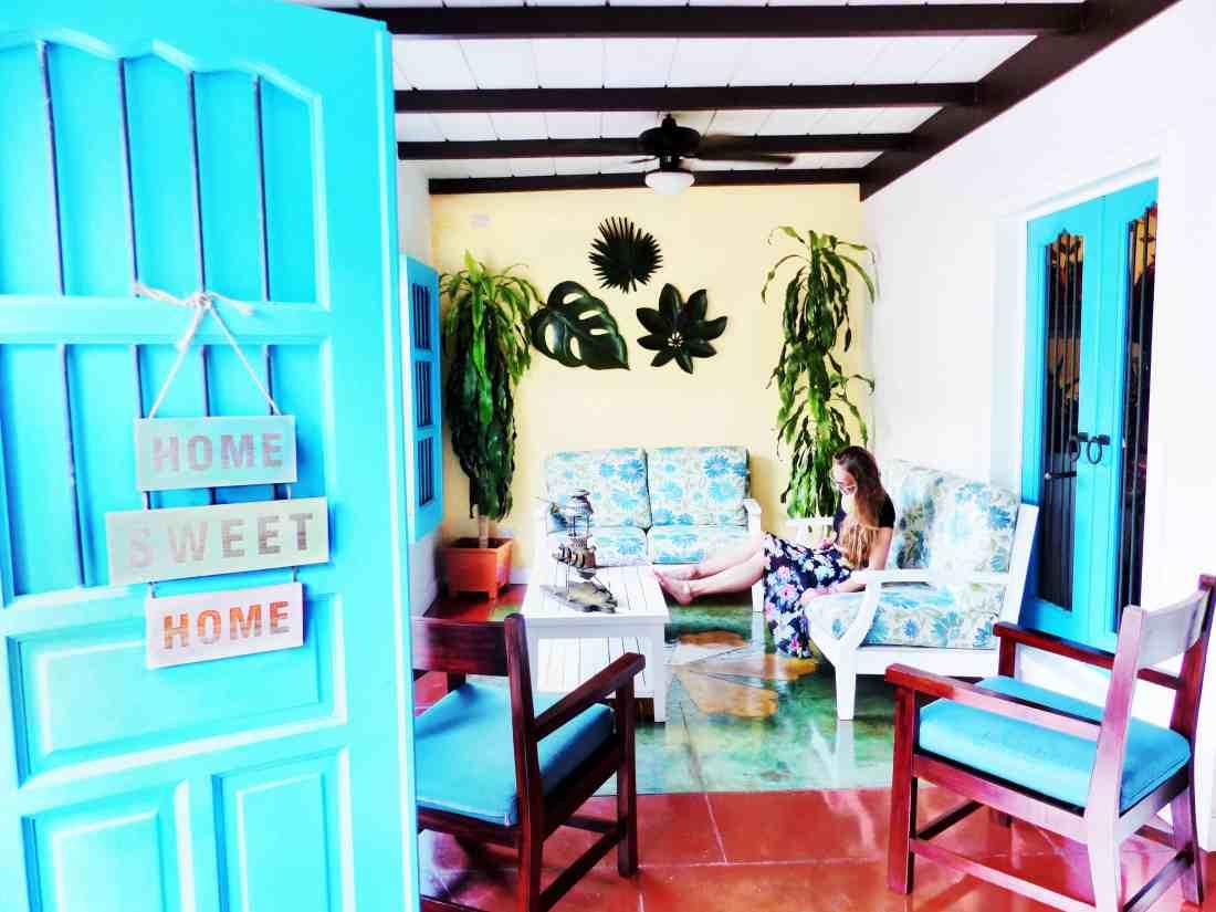 the hotel lobby at isla de flores