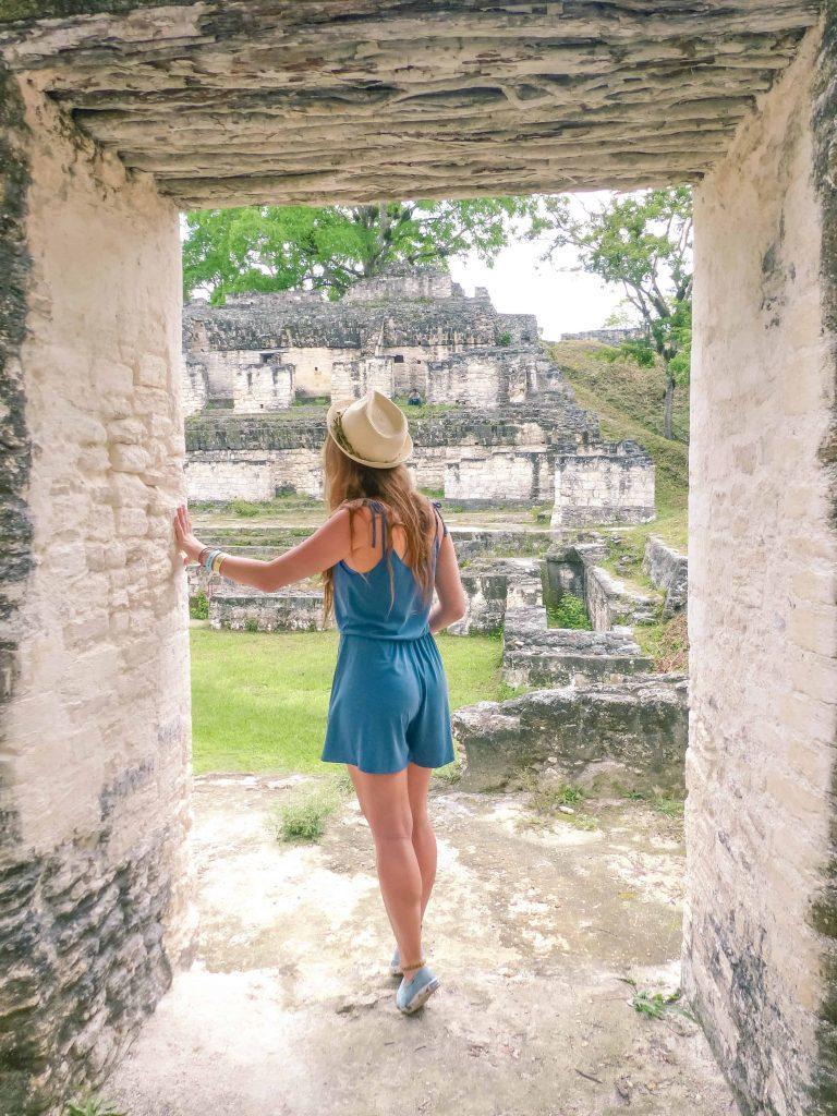 Exploring and touching Tikal ruins