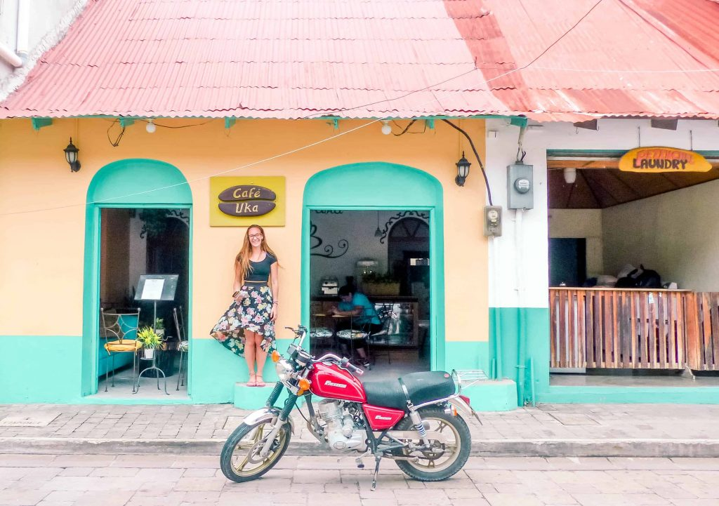 a cafe on the colourful streets of flores