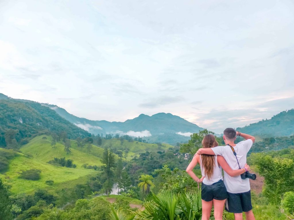 enjoying the view of Lanquin from Zephyr Lodge hostel