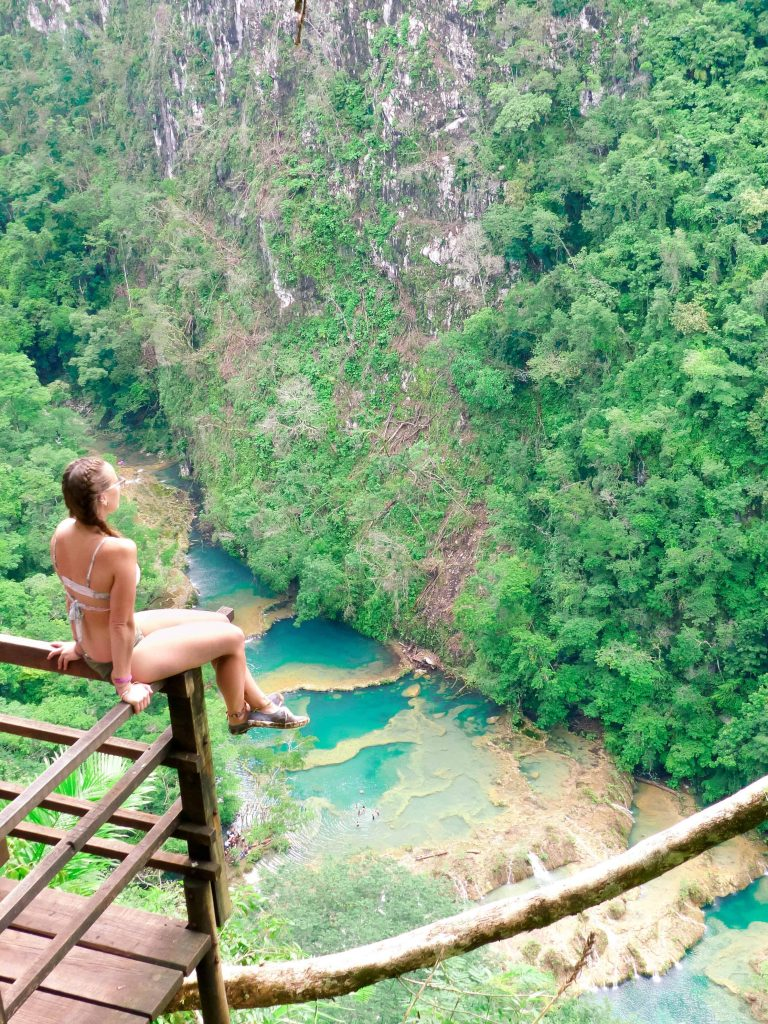 sitting on the mirador overlooking semuc champey