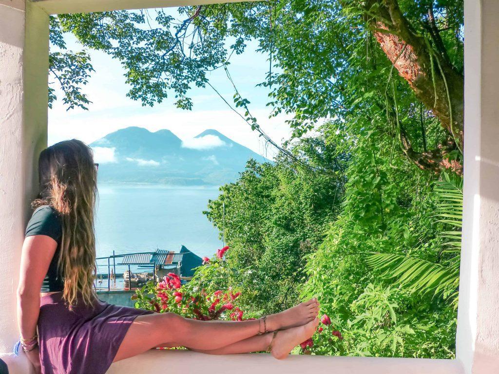 enjoying the view of lake atitlan from my hotel in san marcos