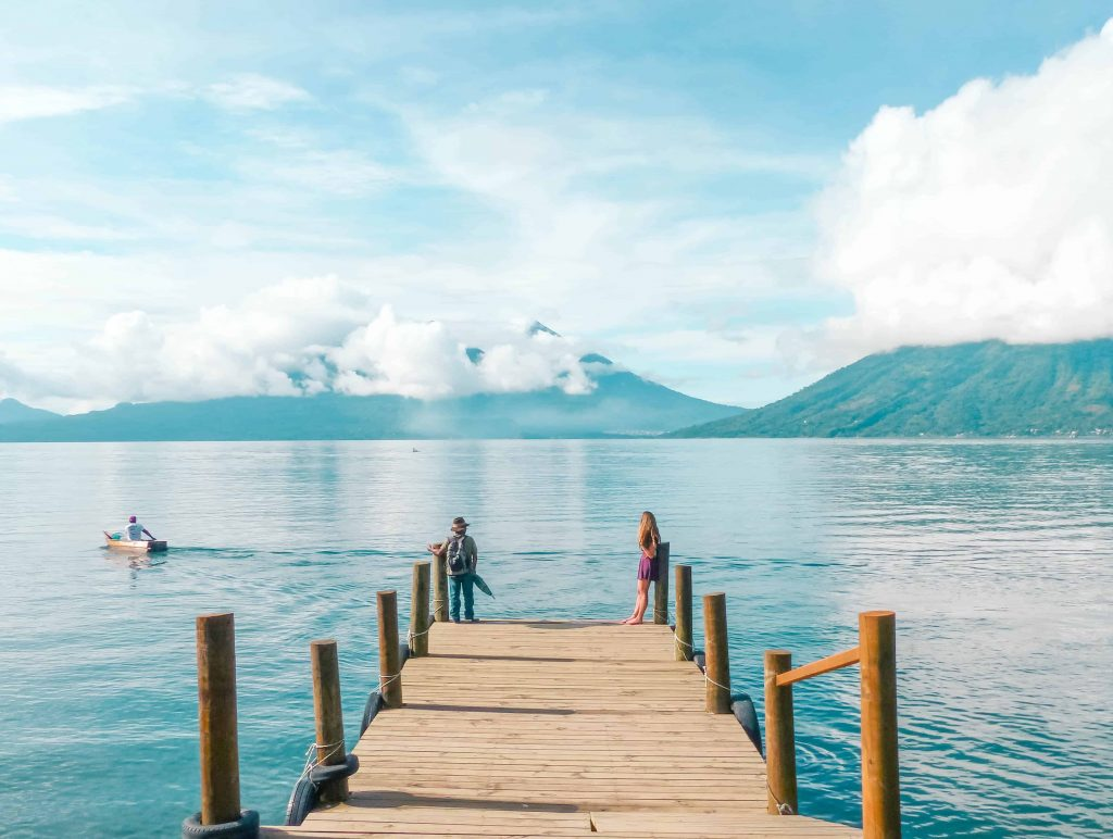Waiting for a boat taxi on lake atitlan in san marcos la laguna