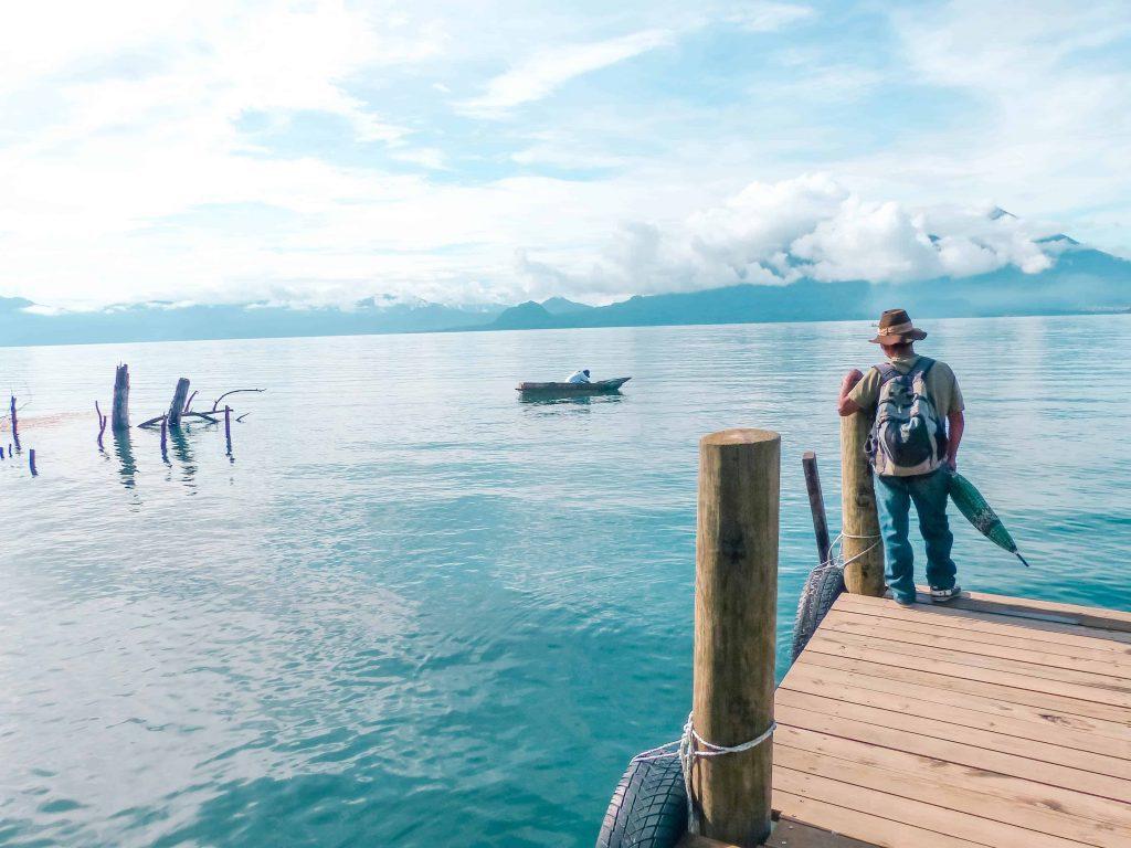 waiting for the boats at san marcos la laguna on lake atitlan guatemala