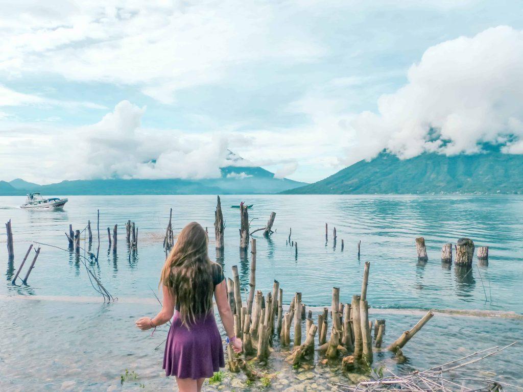 looking out on beautiful lake atitlan from san marcos la laguna