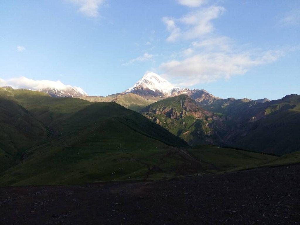 hiking the Gergeti glacier in georgia