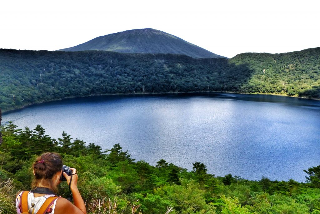hiking around onami crater in japan