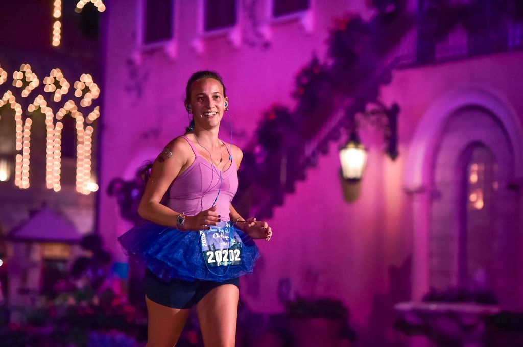 Running through epcot at the disney princess half marathon