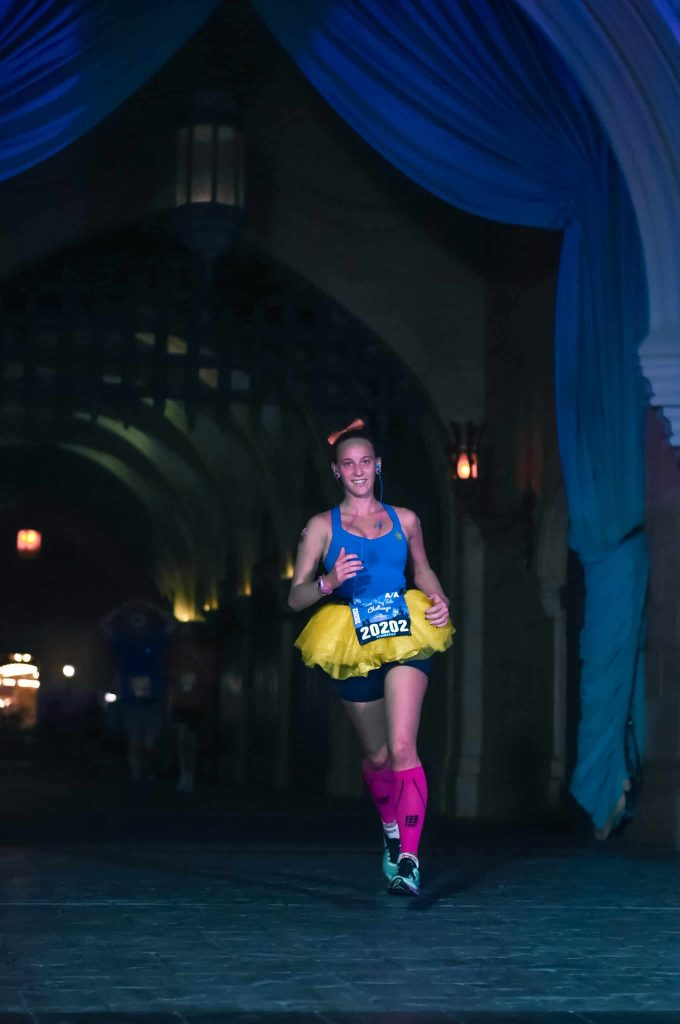 disney princess half marathon running through cinderella castle
