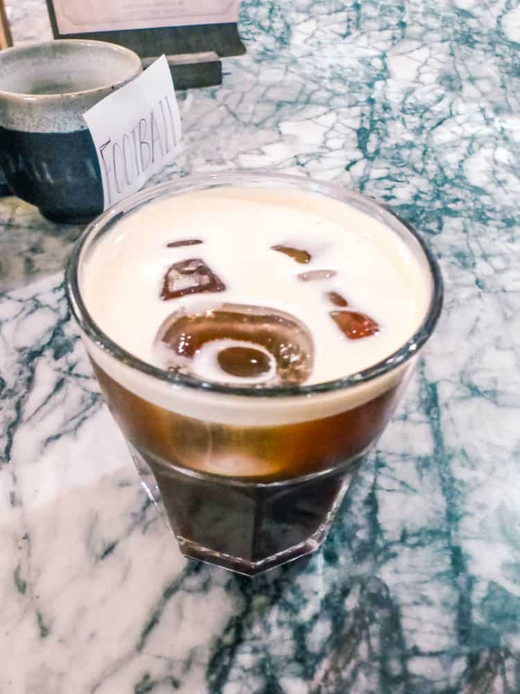 a nitro cold brew coffee from arvo coffee in the distillery district of toronto