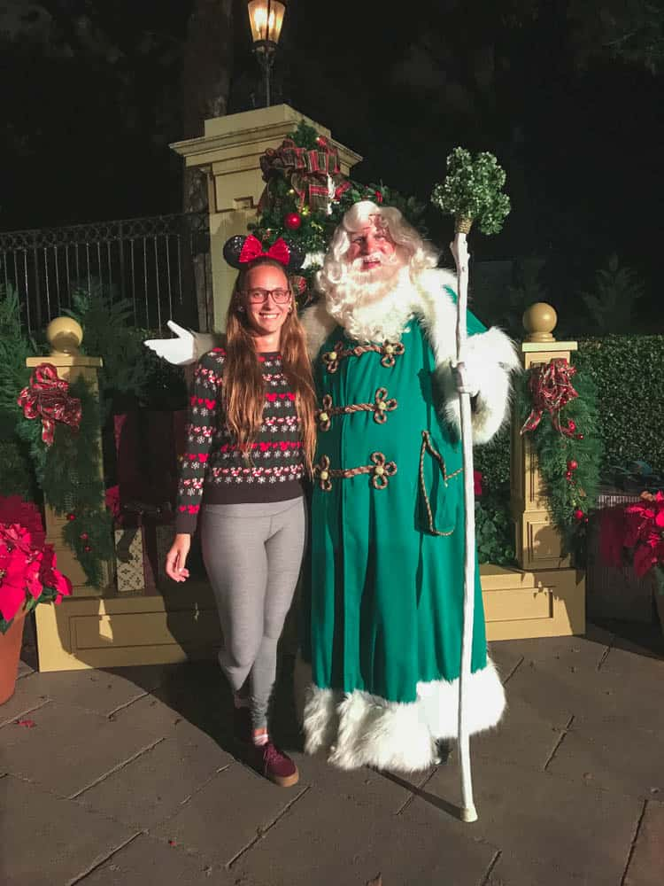 Father Christmas after he told the UK's story of christmas at the epcot festival of the holidays