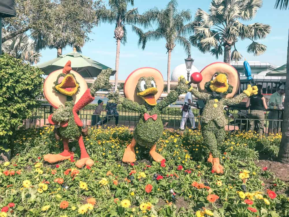 Topiaries at the epcot flower and garden festival. The garden version of the Three Caballeros