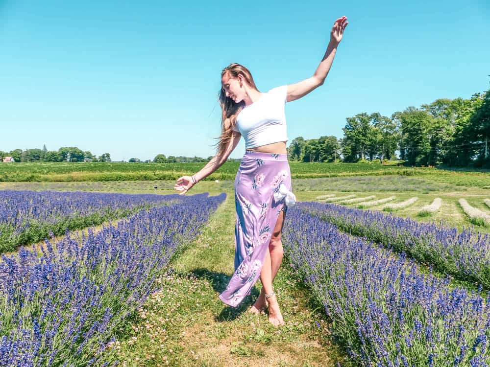 Frolicking through one of the best lavender fields in ontario canada