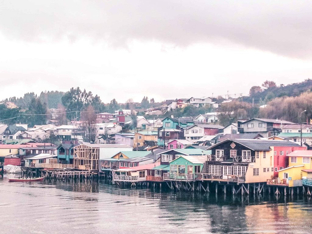 the shoreline of castro on chiloe island in chile