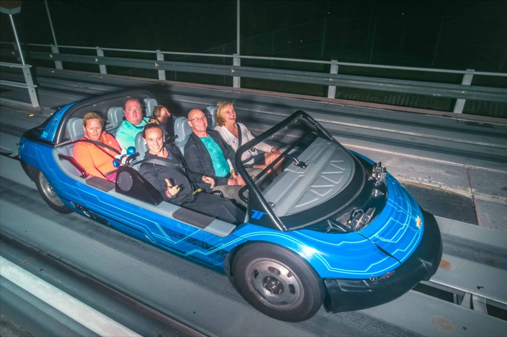 Riding test track in the morning at Epcot in Walt Disney World
