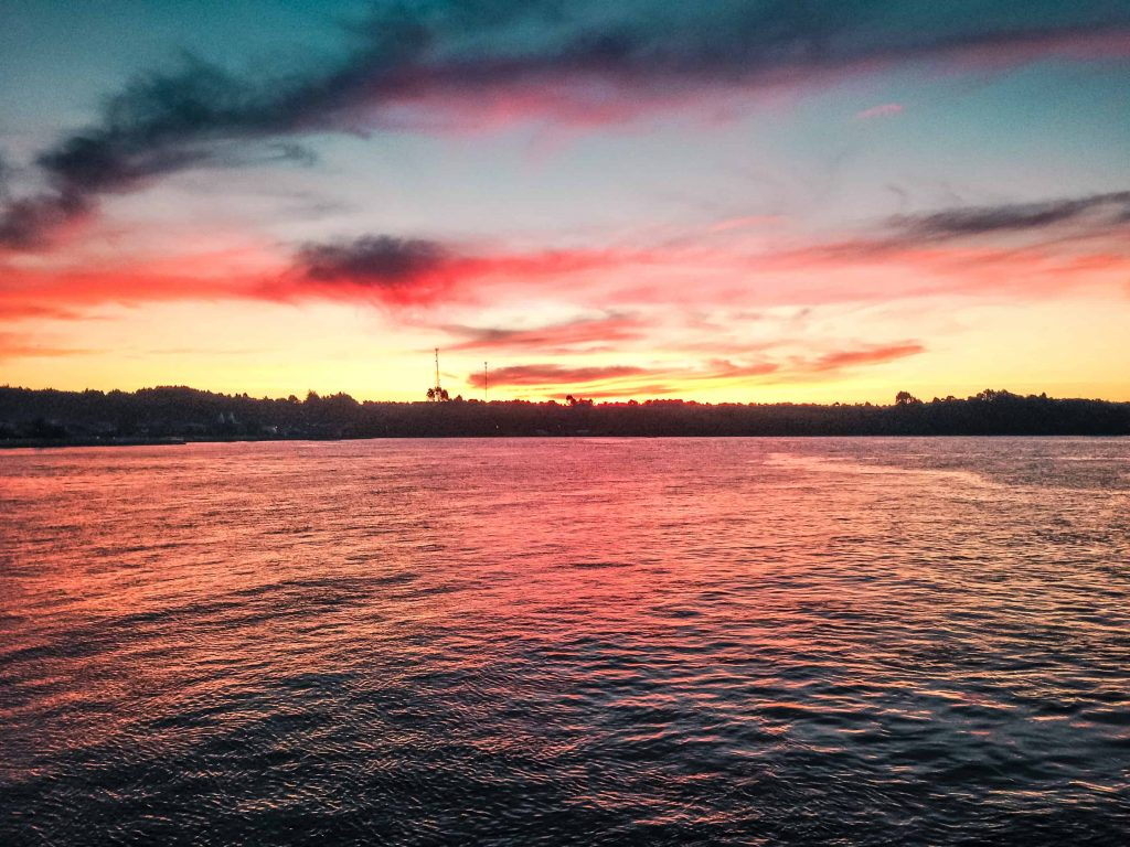 the sunset on the ferry crossing from Puerto Montt to the islands of Chiloé