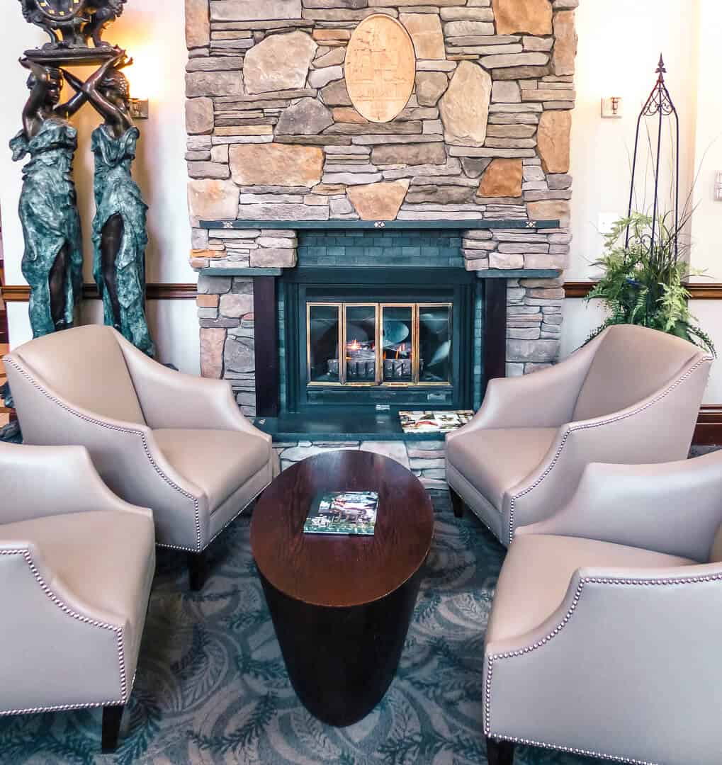 Fireplace lounge at Elm Hurst Inn and Spa