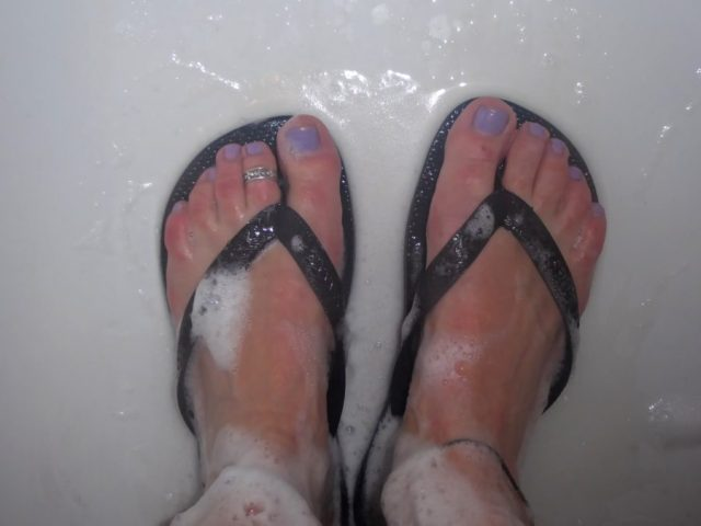 flipflops in hostel shower