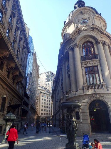 Santiago's main financial district. Modeled from Wall st.