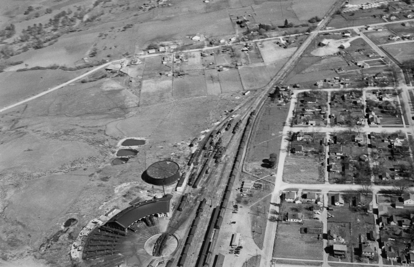 Ashland, railroad, aerial view