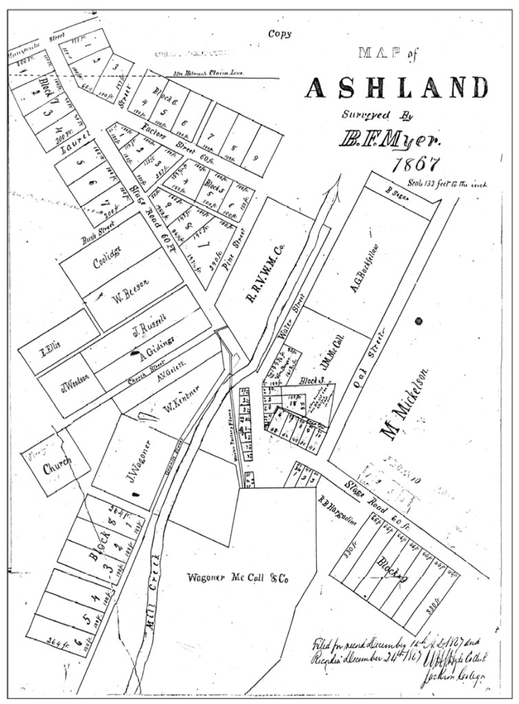 Ashland history, 1867 map of Ashland