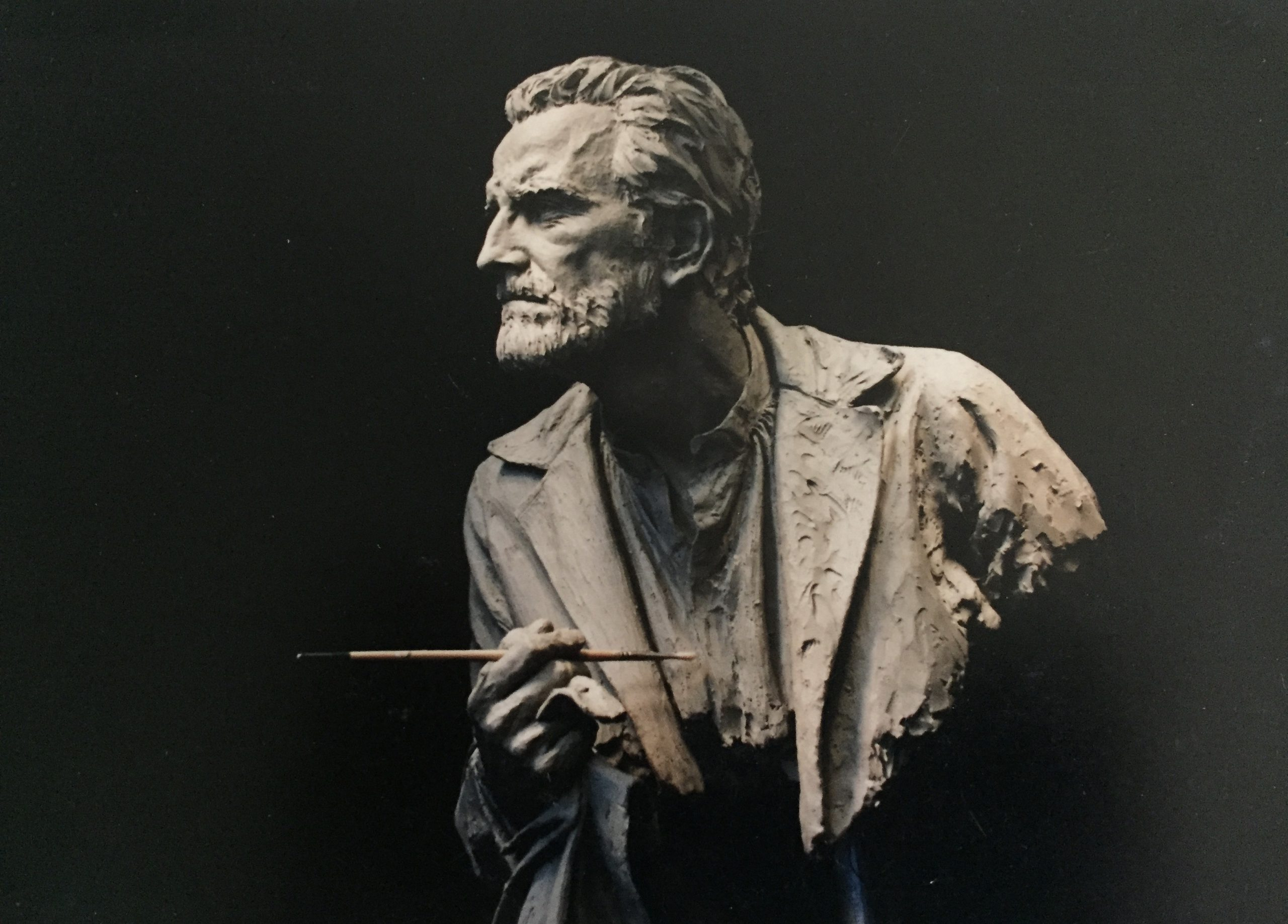 Henry Woronicz as Van Gogh, sculpture by Marion Young