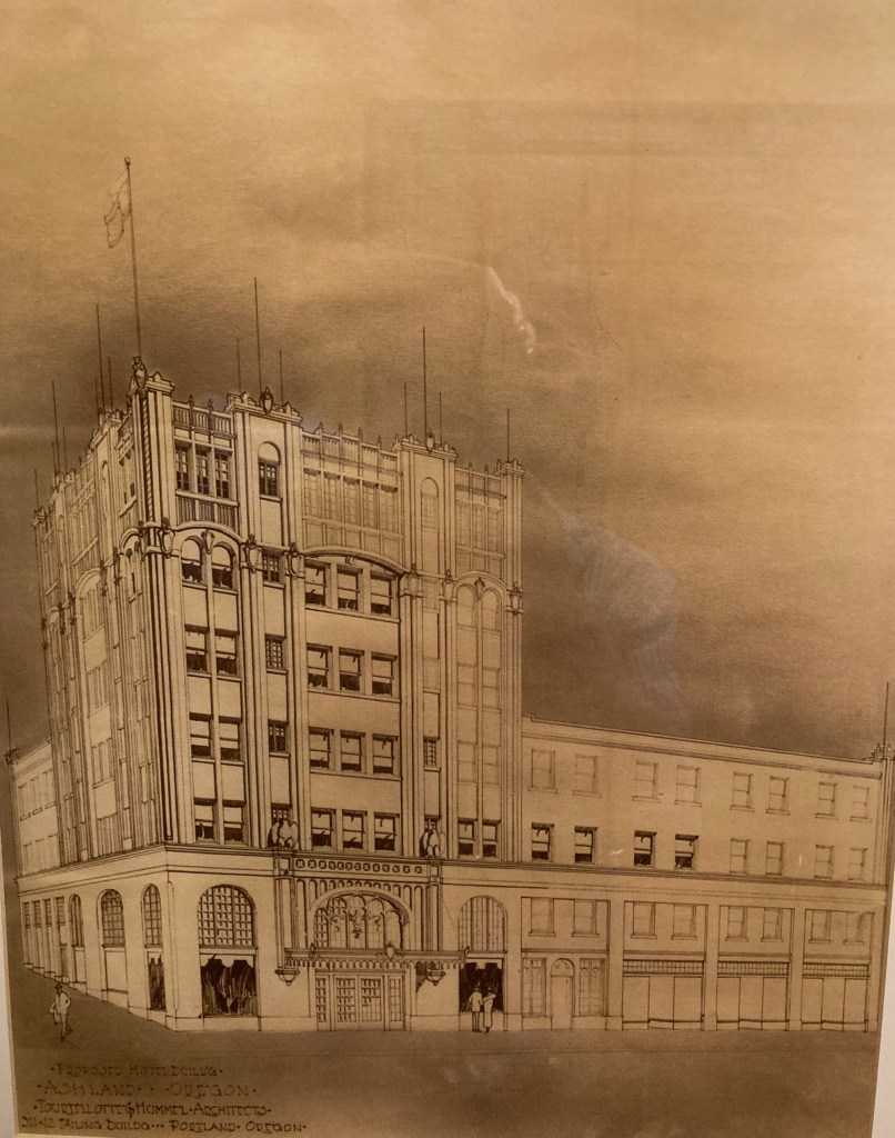 Ashland Springs Hotel, original 6-story drawing c1924 for Lithia Springs Hotel