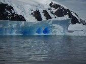 The blue ice stood out in stark contrast against the surrounding white