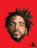 Low poly portrait of Kendrick Lamar and J. Cole combined, November 2016