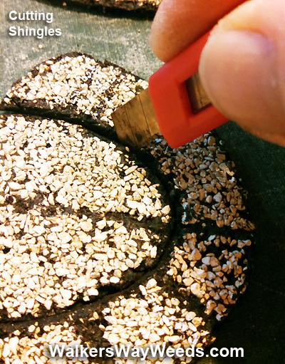 Cutting asphalt shingles