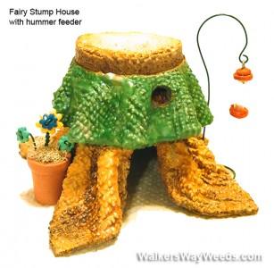 Miniature Fairy Stump house 4 hummers