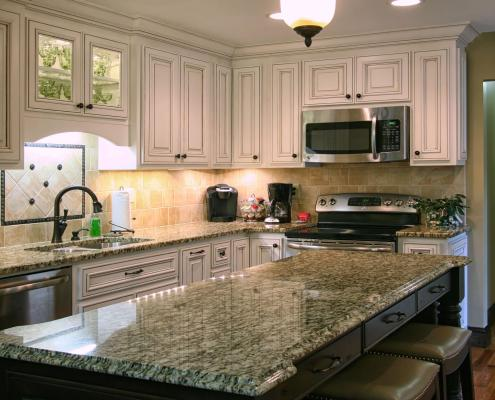 Before and after, after photo,kitchen,island,large counter space, detailed cabinet doors,traditional style,ideas