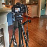 photo of camera on a tripod at photo shoot