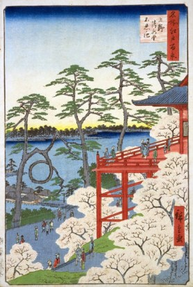 Pine Tree in Ukiyoe Painting by Hiroshima Ando