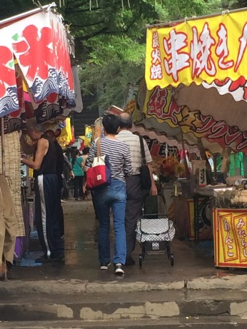 Many stalls in Komagome Fuji Shrine