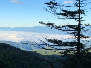 A view of cloud sea from the foot of Otarumi Toge Hill.