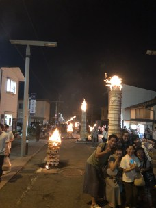 Torches lined along the street of shrine town