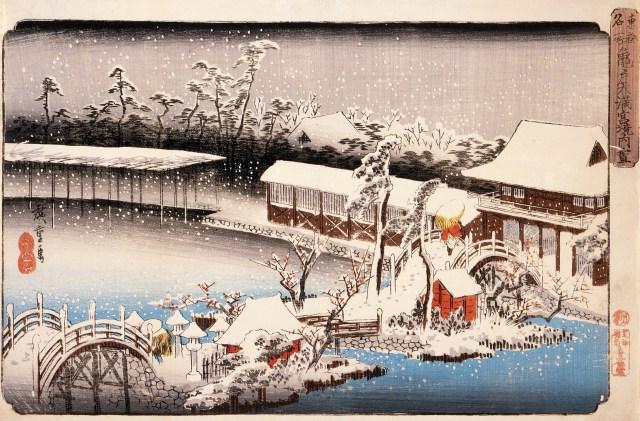 ukiyoe of Kameido Tenjin Shrine
