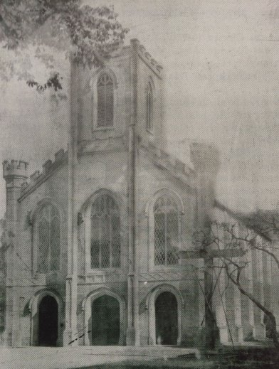Church of the Holy Trinity, Durrow, Co. Laois, at the turn of the century, before the addition of it's spires.