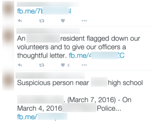 Here Is An Even Worse Example...This department only communicates from Facebook To Twitter. I especially like the first Tweet.