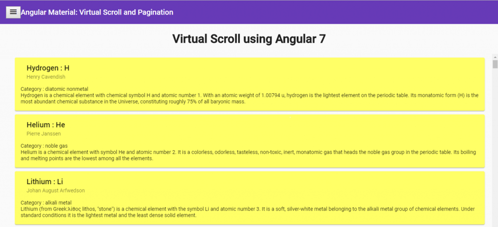 Data Handling with Angular 7 and Material : Virtual Scroll
