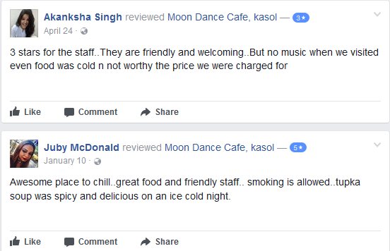 review of moon dance cafe kasol