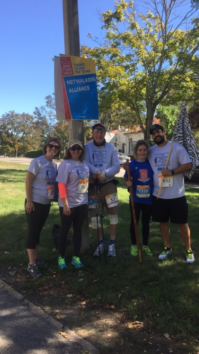 Our NETwalkers Alliance team had 10 Pacesetters on it last year. Five of us stopped under a sign proclaiming us one of the top teams in the Walk for fundraising. The NETwalkers Alliance is part pf the #cureNETcancernow Group.