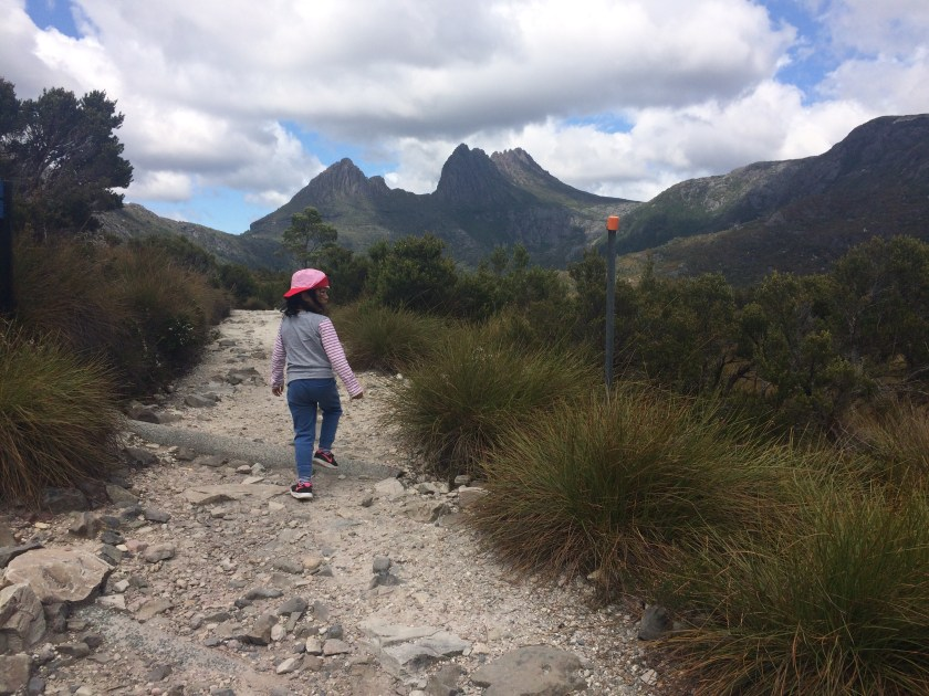 Walking with kids at Dove Lake Circuit, Cradle Mountain- Lake St Clair National Park