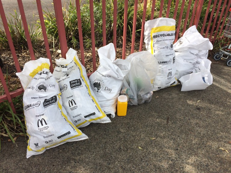 Rubbish from Clean Up Australia Day 2018 for a section of Flushcombe Road, Blacktown.