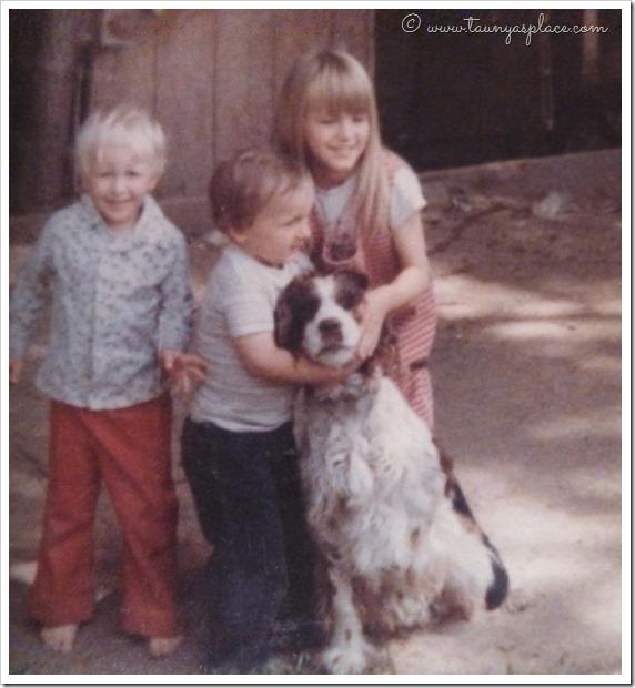 Three kids and a dog