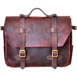 Leather messenger organizer bag