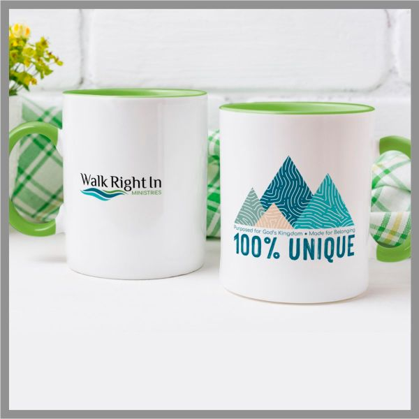 Colorful mug featuring mountain graphic and message 100% Unique, Purposed for God's Kingdom, Made for Belonging