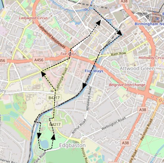 Birmingham Short Green Walk from City Map Overview